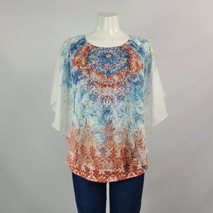 Cleo Red & Blue Flower Top Size M